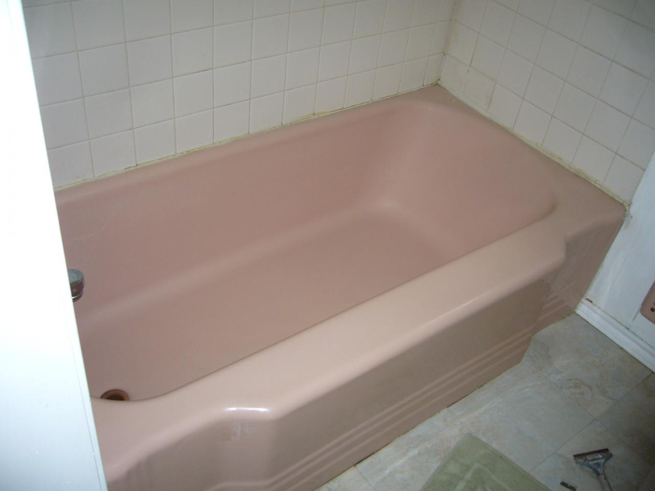 Porcelain Color Change. Coral colored tub outdated