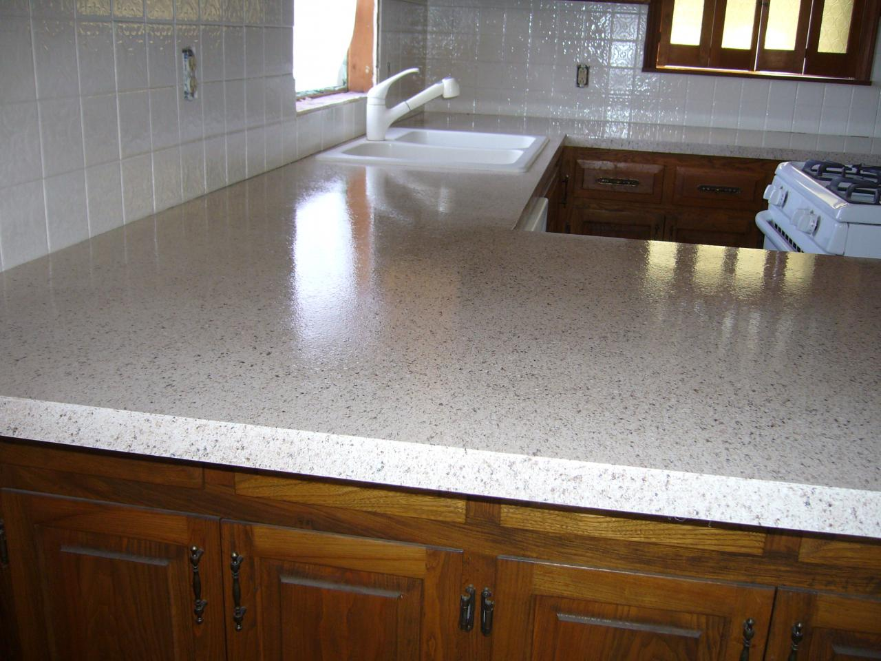 New Cliff Finish With Semigloss Topcoat On The Countertop And The Tile Is  All White